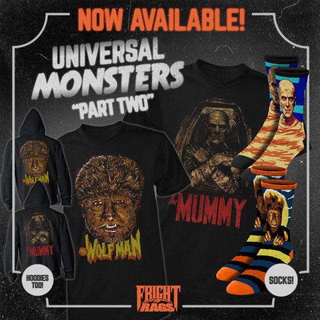 [News] THE WOLF MAN, THE MUMMY, THEY LIVE Apparel Available from Fright-Rags