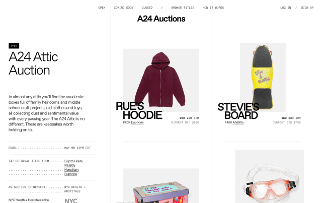 [News] A24 Launches A24 Auctions to Raise COVID-19 Relief Funds for New York Charities