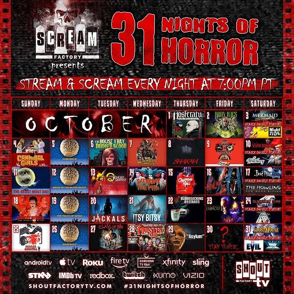 [News] Shout! Factory TV & Scream Factory Present 31 Nights of Horror Starting October 1