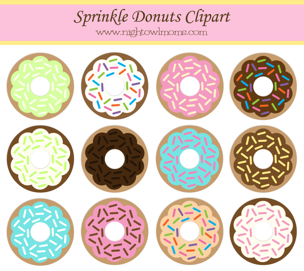 Free Sprinkle Donut Clipart Night Owl Moms