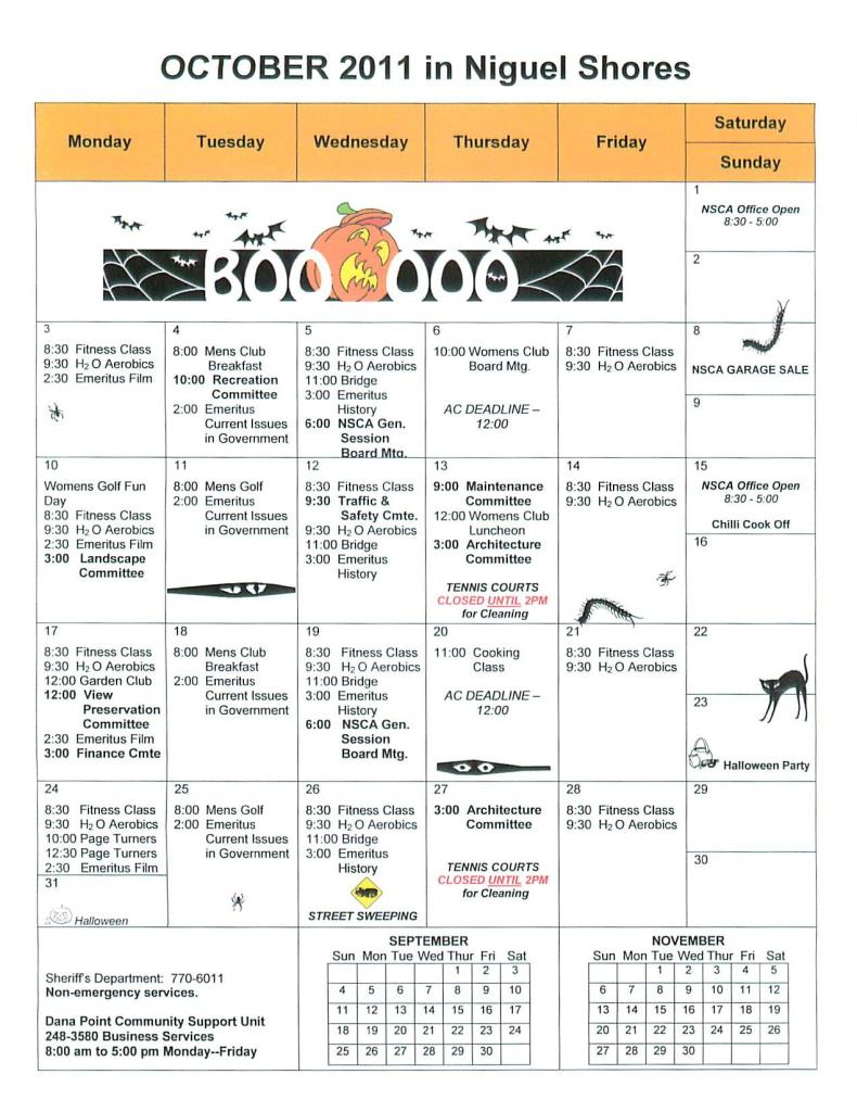 Niguel Shores October Calendar