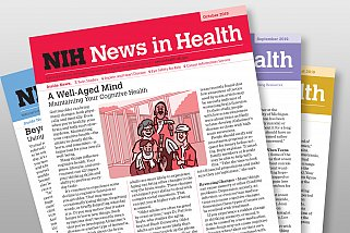 NIH News in Health covers fanned out.