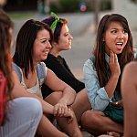Teens talking outdoors