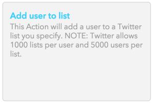 IFTTT - Add User To List
