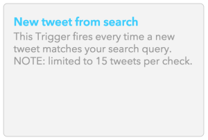 IFTTT - New Tweet From Search