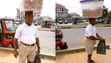 Photo of Elderly Man Neatly Dressed And Selling Doughnuts In Traffic Touches The Heart Of Netizens