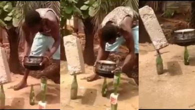 Photo of Man suspends a brick and pot on a bottle in Volta Region
