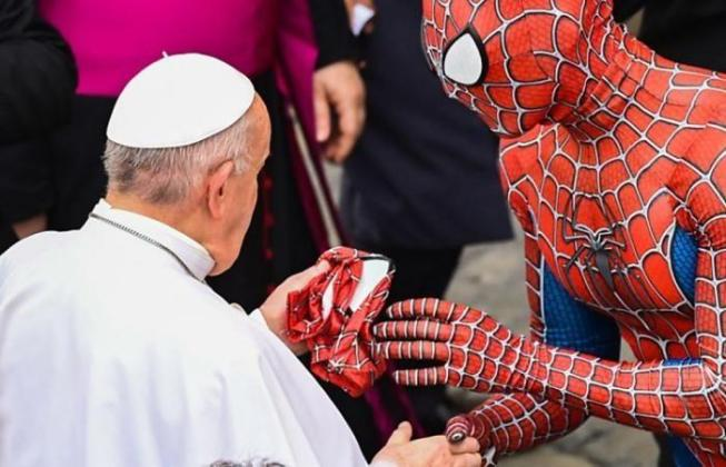 Pope Francis meets 'Spider-Man' during weekly service at the Vatican (Photos/Video)