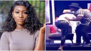 Photo of Awkward moment Wendy Shay slips and falls on Live TV while slaying in high heels (Watch)