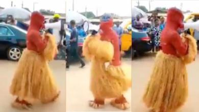 """Photo of Watch Video as Alleged """"voodoo"""" masquerade turns to Christ, preaches God's word in the street"""