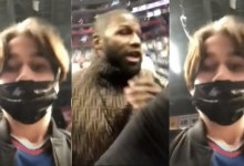 """Photo of Floyd Mayweather refuses selfie with young male fan; says he doesn't take photos with guys with """"painted nails"""""""