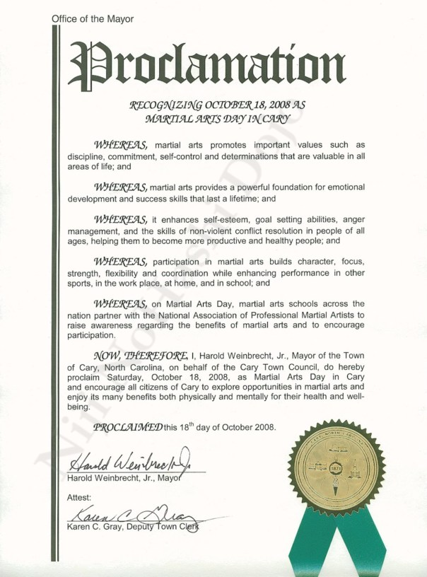Proclamation Cary,NC Martial Arts