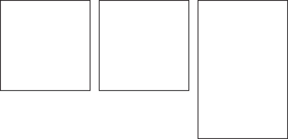 three panels with tall one at end