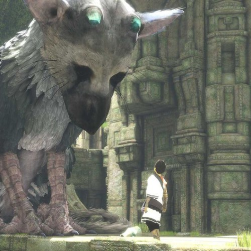 last guardian- trico looking at boy
