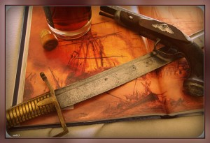 17th century sword and gun crossed over an open book showing a full-rigged ship, next to an open bottle of rum.