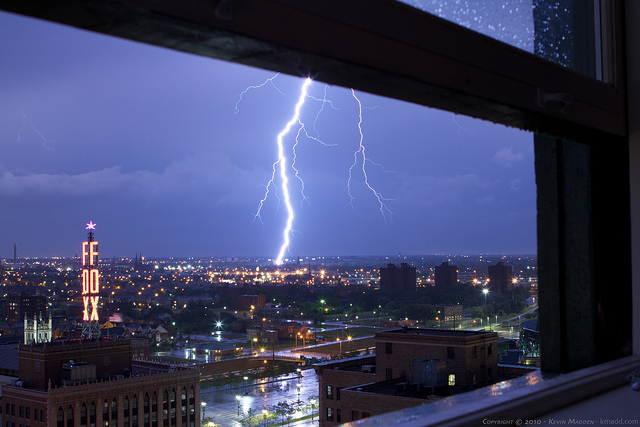 Close shot of lightning over night sky in Detroit