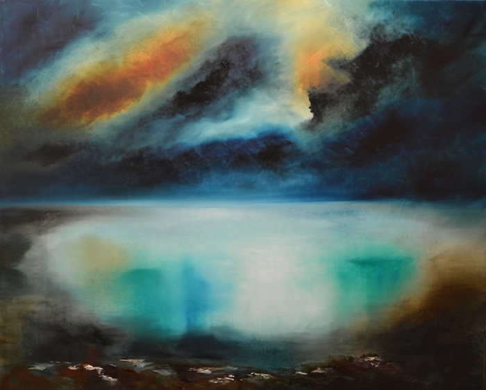 abstract lake painting