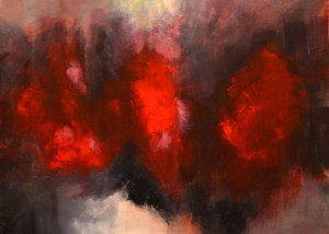 red abstract painting