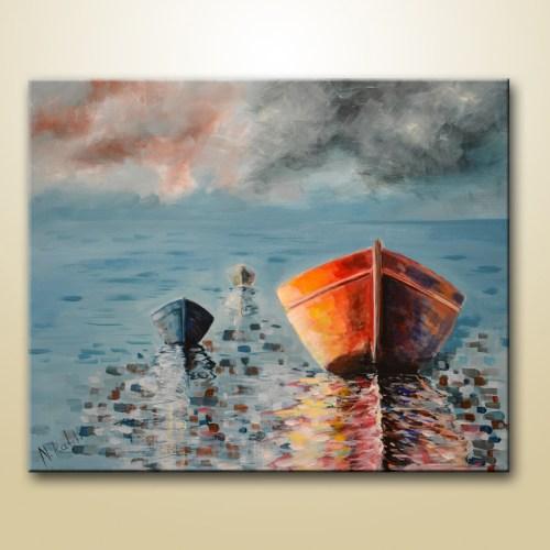 original boats painting on vanvas