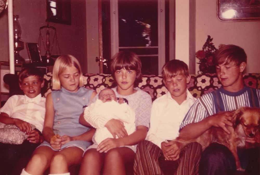 Left to right: Dean, Karla, Lori (holding Jamie), Doug, and Brian.