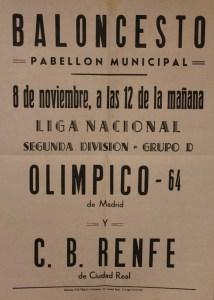 Cartel del partido C.B. Renfe contra el Olímpico64, celebrado el 8 de noviembre de 1981, en Madrid.
