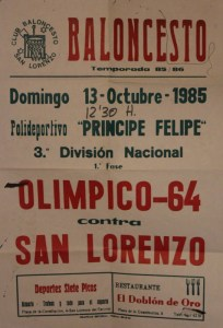Cartel del partido San Lorenzo contra el Olímpico 64 celebrado el 13 de octubre de 1985 en San Lorenzo de El Escorial.