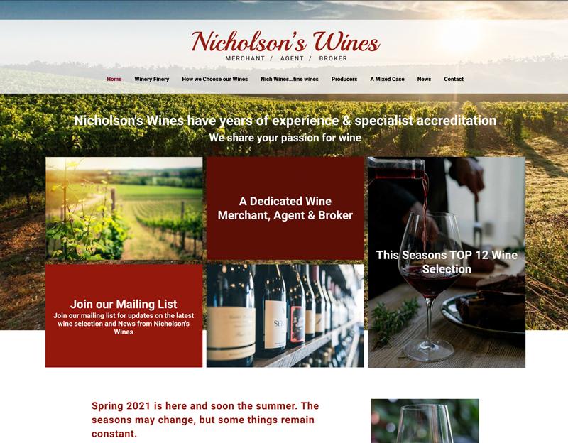 Nicholson's Wines New Website