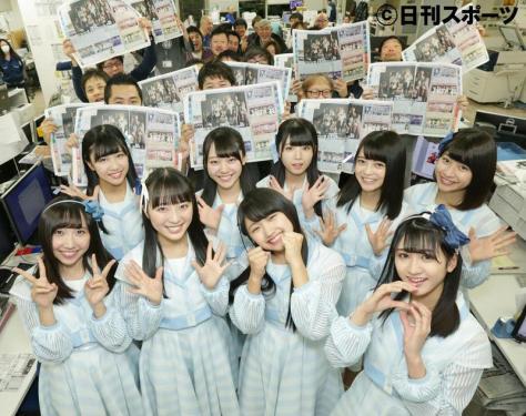 日刊スポーツ新聞社を訪れたSTU48のメンバー(撮影・中島郁夫)