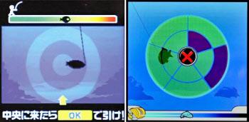 グリーの「釣り★スタ」の画面(左、同社提供)とDeNAの「釣りゲータウン2」の画面(同社提供)=いずれも共同