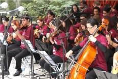 月次祭で披露された弦楽団の演奏(提供写真)