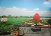 イチゴ畑を再現した展示