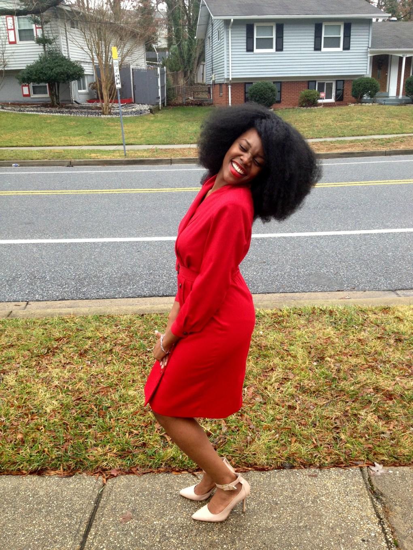 Vintage Red Long Sleeve Dress 11
