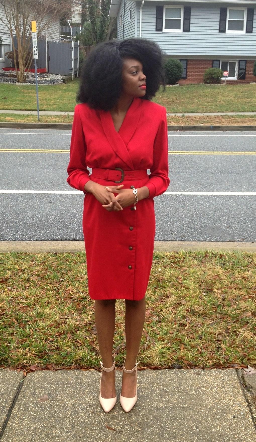 Vintage Red Long Sleeve Dress 3