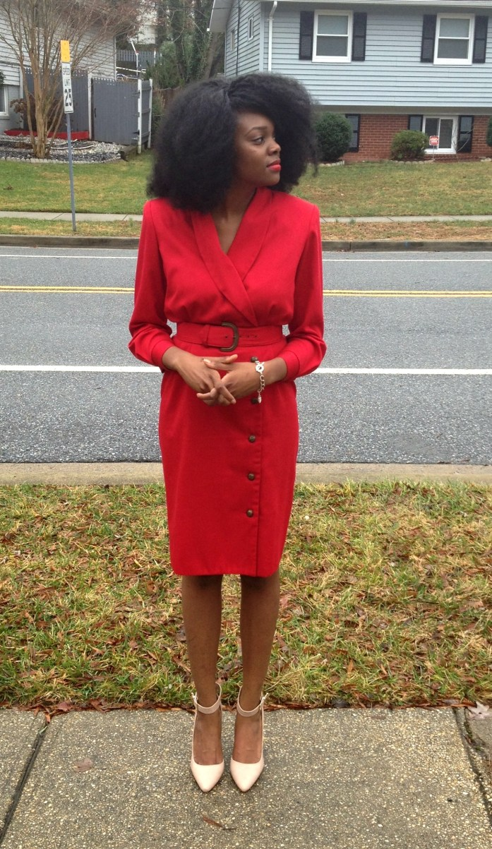 Vintage Red Long Sleeve Dress 3