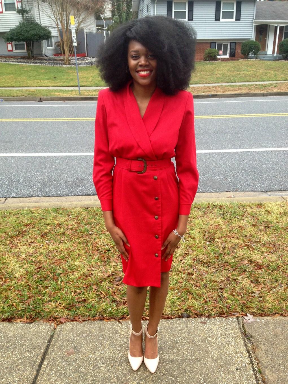 Vintage Red Long Sleeve Dress 5