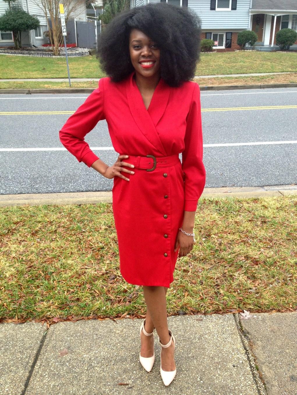 Vintage Red Long Sleeve Dress 6