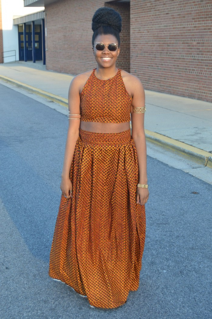 Nikki Billie Jean Red Ankara Print Crop Top &  Maxi Skirt 4