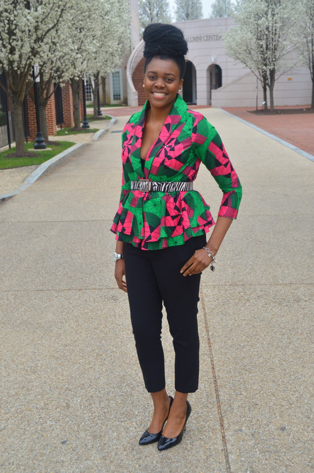 Nikki Billie Jean Pink and Green Ankara Print Peplum Jacket 5