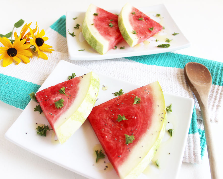 This sweet cilantro watermelon is bursting with unique flavours on our summer favourite fruit! Enjoy this healthy snack any time! {Gluten Free & Vegan}