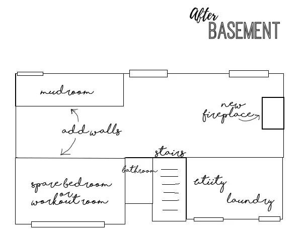 Basement Before Photos + Floor Plans