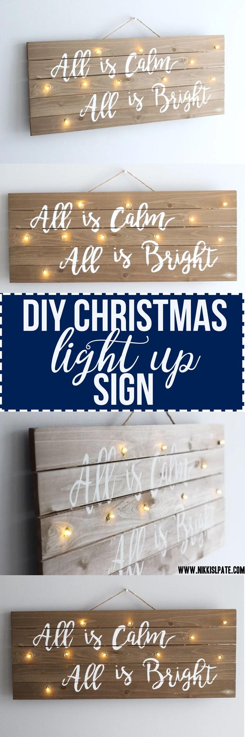 DIY Christmas Light Up Sign || Easy fun craft decor for the holidays! - Nikki's Plate