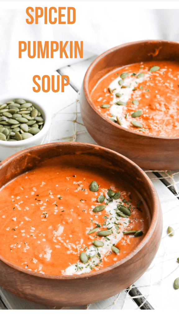 Spiced Pumpkin Soup; Warm roasted pumpkin pureed soup with a kick of spicy undertones. Fall/autumn comfort food! {Healthy Vegan, Gluten Free, Refined Sugar Free, Dairy Free}