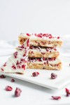 Cranberry Bliss Bars; a gluten free blondie cake base with dairy free coconut and white chocolate frosting, loaded with delicious cranberries. Starbucks Bliss Bars copycat, but a healthier version!