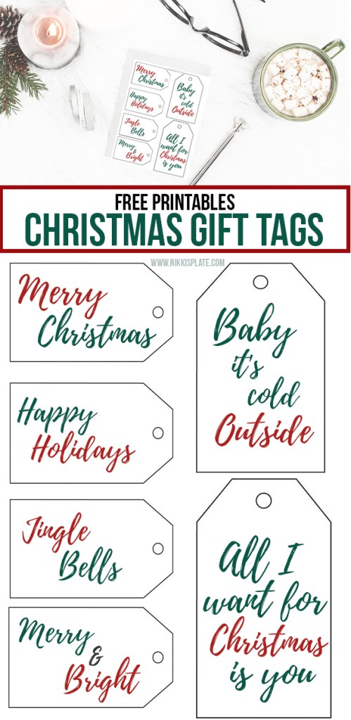 Free Printable Christmas Gift Tags || Add a cute name tag to your xmas presents this holiday season! #christmaspresents #christmasgifttags #freeprintables