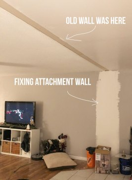 We removed a dividing wall in our living room and now we have a huge open space for a gallery wall!