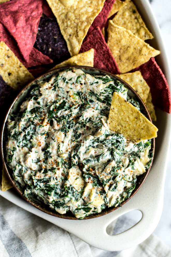 Healthy Super Bowl Appetizers (Vegan, Gluten Free, Sugar Free) || Spinach Artichoke Dip #superbowl #appetizers #healthy #vegan || Nikki's Plate
