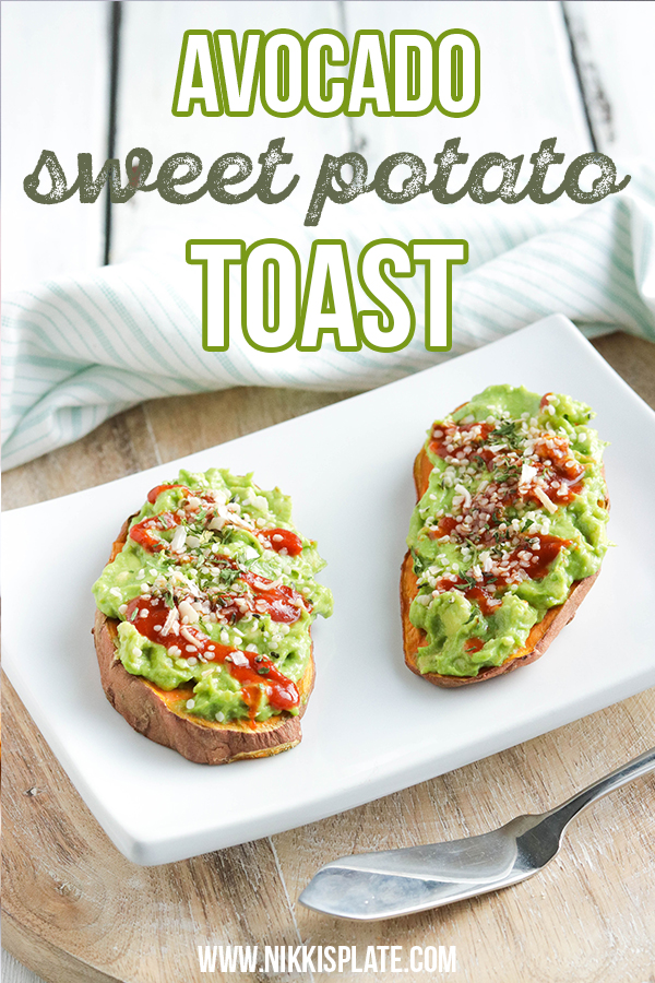 Avocado Sweet Potato Toast is a healthy gluten free and vegan breakfast or appetizer for anyone who loves guacamole! All wholesome and organic ingredients. #avocado #toast #sweetpotato || Nikki's Plate