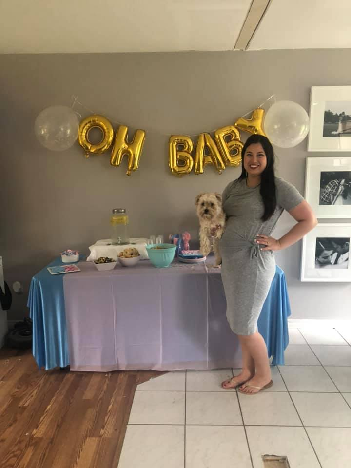 Gender Reveal Party - gold oh baby banner, blue and pink decorations