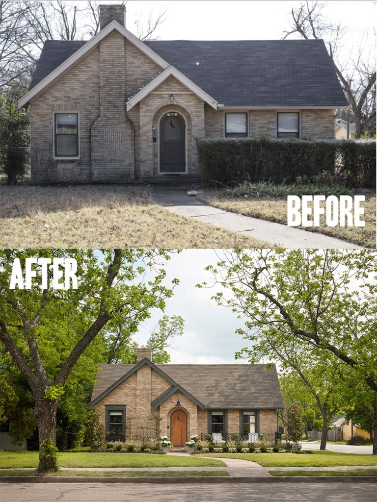 Best House Exterior Renovations By Joanna Gaines; Here are the best before and after reveals on the show Fixer Upper. House Front, Curb Appeal and Home Front. || Southern House, Bungalow, brick cleaned