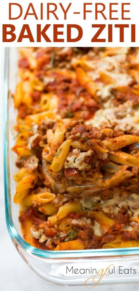 Healthy Make Ahead Freezer Meals for new moms and winter season prep! Crockpot, slow cooker and oven dinner ideas to freeze and pull out when ready to cook! Baked Ziti - #glutenfree #dairyfree #bakedziti #freezermeals